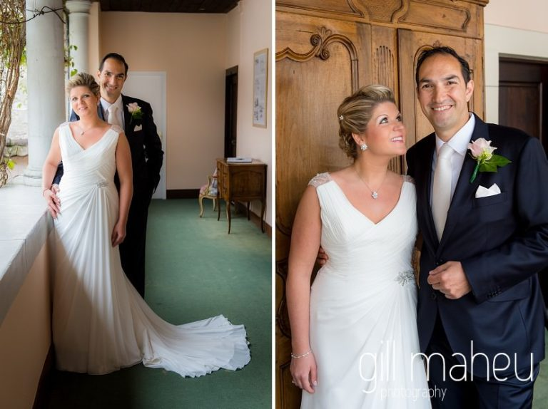 full length photos of bride and groom in front of beautiful carved wooden doors at portrait at Abbaye de Talloires, Annecy wedding by Gill Maheu Photography, photographe de mariage