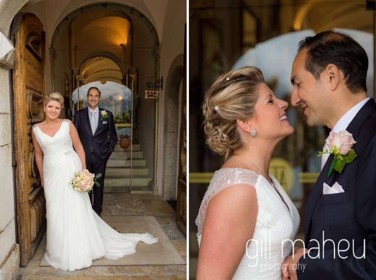 bride and groom kissing in front of Abbaye de Talloires, Annecy wedding by Gill Maheu Photography, photographe de mariage