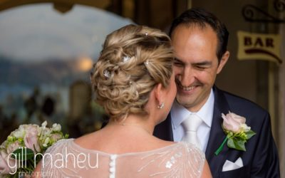 newly married wedding couple looking into each others eyes at Abbaye de Talloires, Annecy wedding by Gill Maheu Photography, photographe de mariage