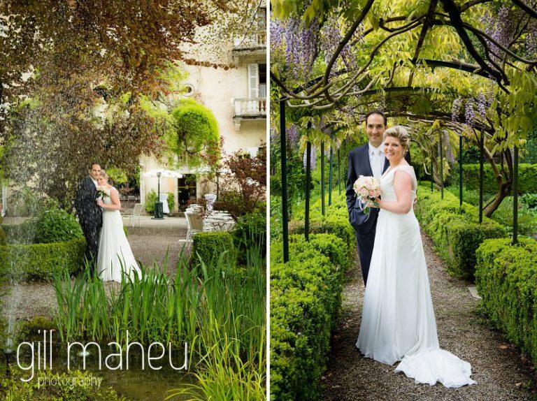 romantic wedding couple photos in the gardens of the Abbaye de Talloires, Annecy wedding by Gill Maheu Photography, photographe de mariage