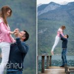 bride about to jump into groom's arms from  jetty in Lake Annecy opposite Talloires, engagement session by Gill Maheu Photography, photographe de mariage