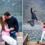 engaged couple kissing and groom jumping high from jetty in Lake Annecy opposite Talloires, engagement session by Gill Maheu Photography, photographe de mariage