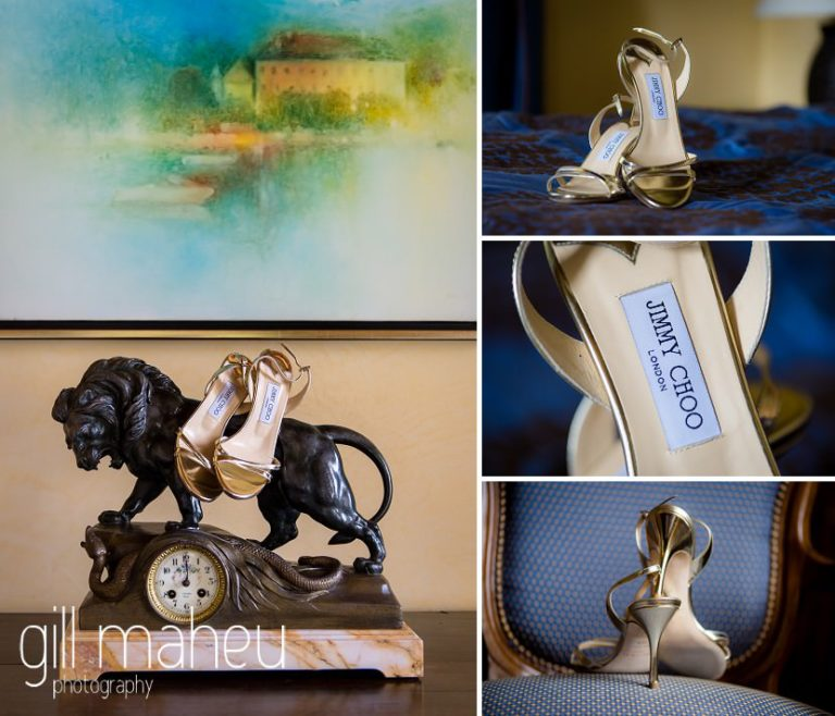 wedding details of stunning gold Jimmy Choo shoes at Abbaye de Talloires, Annecy wedding by Gill Maheu Photography, photographe de mariage