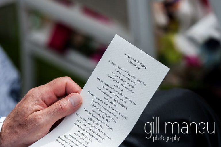 details of poem 'Love is to share' by Martin Gray read during wedding ceremony at Abbaye de Talloires, Annecy wedding by Gill Maheu Photography, photographe de mariage