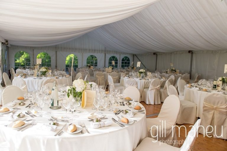 details of wedding dinner in the white marquee at Abbaye de Talloires, Annecy wedding by Gill Maheu Photography, photographe de mariage