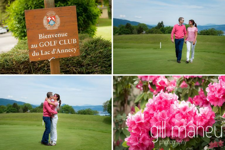 happy couple and pink details on the green at Golf du Lac d'Annecy, Talloires engagement session by Gill Maheu Photography, photographe de mariage