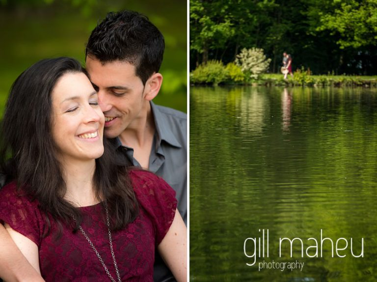 engaged couple kissing on the shore of Lac de Sauvebelin, Lausanne engagement session by Gill Maheu Photography, photographe de mariage