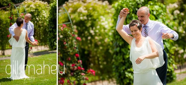bride and groom dancing to Jean Pierre Verdolini jazz quartet in the gardens of the Chateau de Coppet, Geneva wedding by Gill Maheu Photography, photographe de mariage