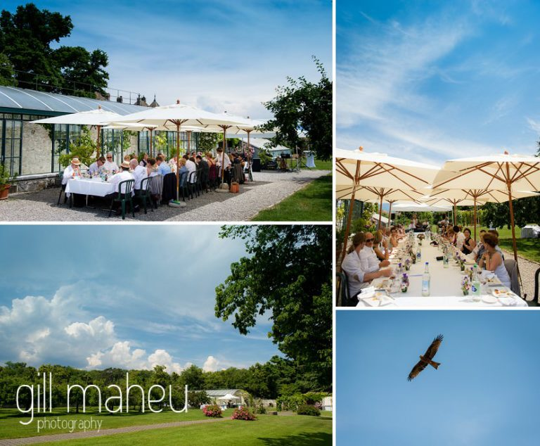 details of wedding dinner under parasol in the grounds of Chateau de Coppet, Geneva wedding by Gill Maheu Photography, photographe de mariage