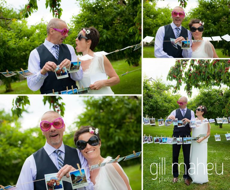 wedding couple funky glasses and wedding photo bunting at Chateau de Coppet, Geneva wedding by Gill Maheu Photography, photographe de mariage