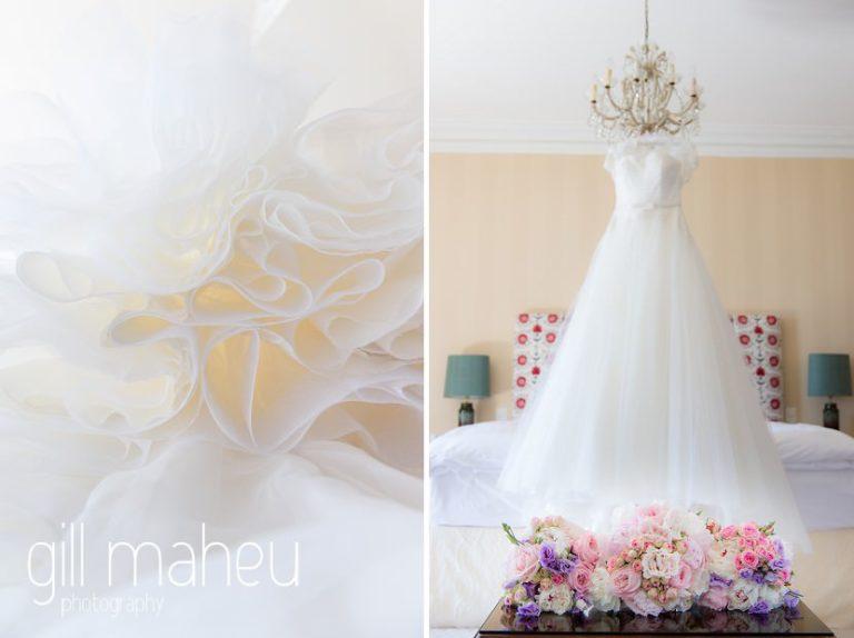 wedding details of stunning Lusan Madongus white lace wedding dress at luxury hotel Trois Couronnes, Vevey, Lake Geneva wedding by Gill Maheu Photography, photographe de mariage