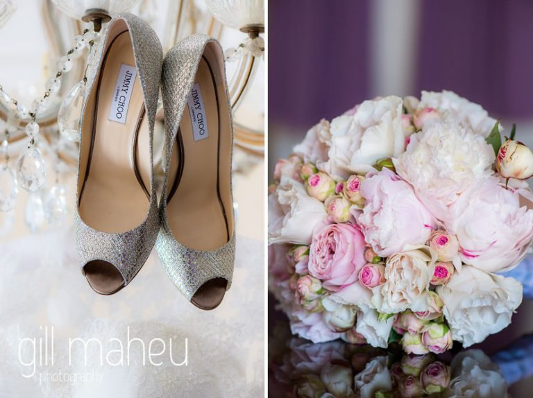 wedding details of sparkly gold Jimmy Choo wedding shoes and beautiful pink rose and peony bouquet at luxury hotel Trois Couronnes, Vevey, Lake Geneva wedding by Gill Maheu Photography, photographe de mariage