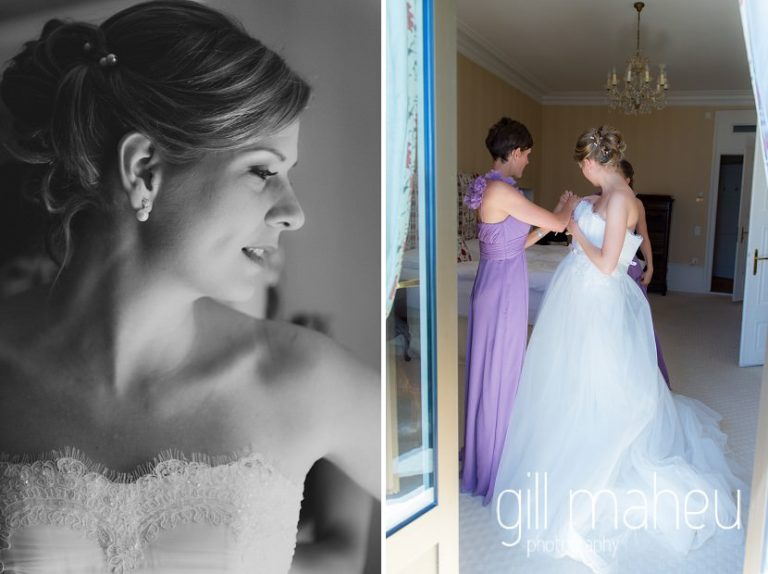 bride being helped into her stunning Lusan Madongus white lace wedding dress at luxury hotel Trois Couronnes, Vevey, Lake Geneva wedding by Gill Maheu Photography, photographe de mariage
