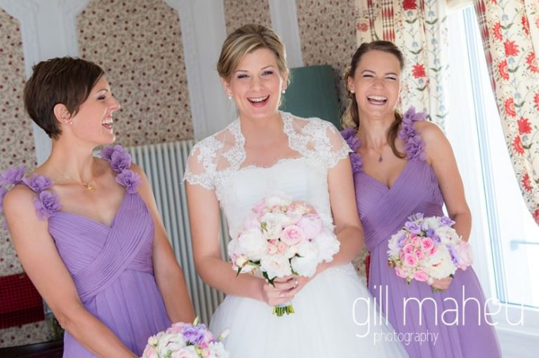 bride and her bridesmaids in the presidential suite at luxury hotel Trois Couronnes, Vevey, Lake Geneva wedding by Gill Maheu Photography, photographe de mariage