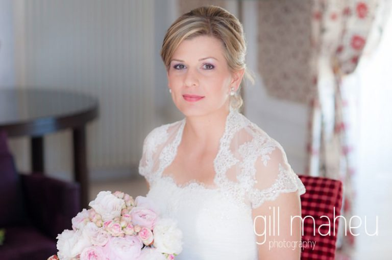 beautiful portrait of bride in the presidential suite at luxury hotel Trois Couronnes, Vevey, Lake Geneva wedding by Gill Maheu Photography, photographe de mariage