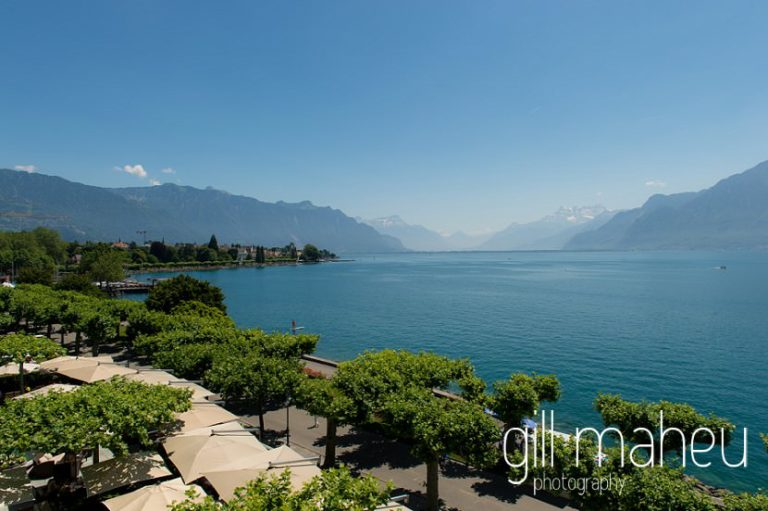 view from the balcony at luxury hotel Trois Couronnes, Vevey, Lake Geneva wedding by Gill Maheu Photography, photographe de mariage