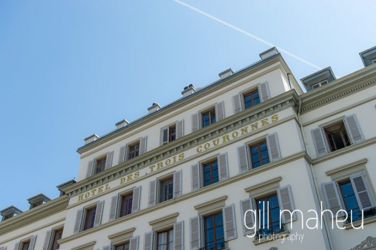outside view of the luxury hotel Trois Couronnes, Vevey, Lake Geneva wedding by Gill Maheu Photography, photographe de mariage