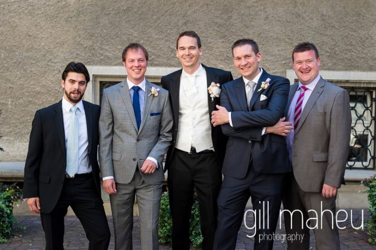 groom and groomsmen outside wedding ceremony in Lutry before hotel Trois Couronnes, Vevey, Lake Geneva wedding by Gill Maheu Photography, photographe de mariage