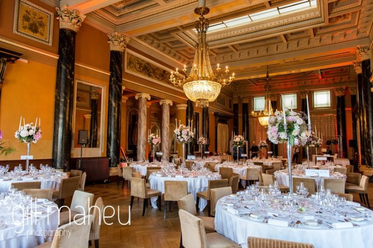 dining room for vin d'honneur and evening celebrations at luxury hotel Trois Couronnes, Vevey, Lake Geneva wedding by Gill Maheu Photography, photographe de mariage