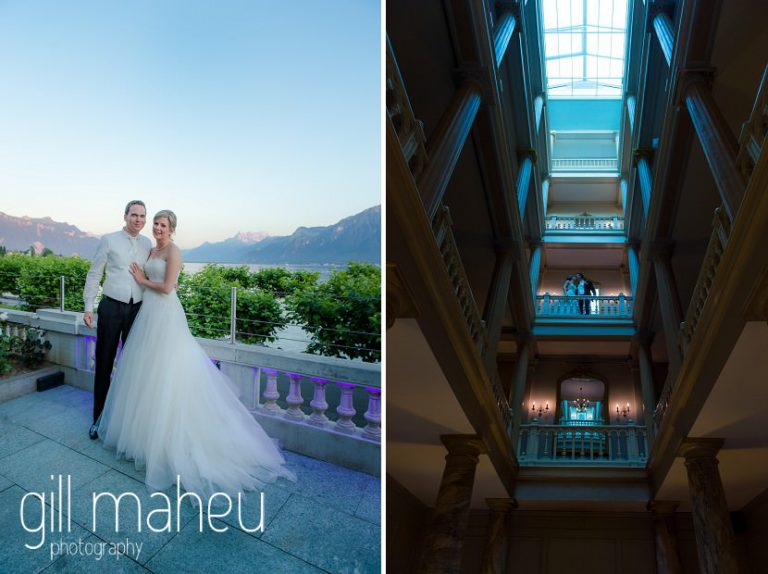 bride and groom portraits in the luxury hotel Trois Couronnes, Vevey, Lake Geneva wedding by Gill Maheu Photography, photographe de mariage