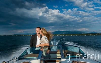 engaggement shoot speed boat lake geneva