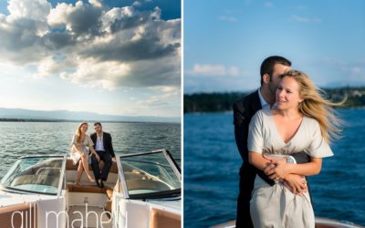 gorgeous couple embracing on speed boat on Lac Léman with great dark storm clouds and golden light, Geneva engagement session by Gill Maheu Photography, photographe de mariage