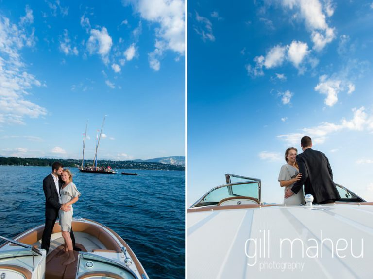 gorgeous engaged couple on speed boat on Lac Léman, Geneva engagement session by Gill Maheu Photography, photographe de mariage