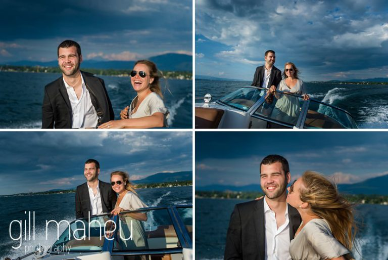 series of photos of gorgeous couple on speed boat on Lac Léman in golden light, Geneva engagement session by Gill Maheu Photography, photographe de mariage
