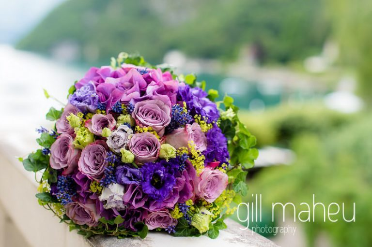details of beautiful rose and anenome wedding bouquet by Atelier du Fleuriste in the suite nuptiale Jena Reno at Abbaye de Talloires, Annecy wedding by Gill Maheu Photography, photographe de mariage