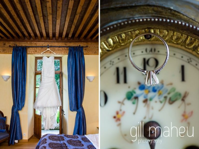 full length photo of beautiful Maggie Sottero wedding dress and close up of diamond engagement ring on enamel clock face in the suite nuptiale Jena Reno at Abbaye de Talloires, Annecy wedding by Gill Maheu Photography, photographe de mariage