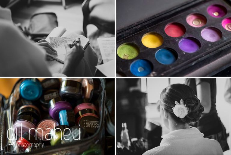 black and white photos of bride and her writing her vows and colour photos of fabulous make up palette of Make you up at Abbaye de Talloires, Annecy wedding by Gill Maheu Photography, photographe de mariage