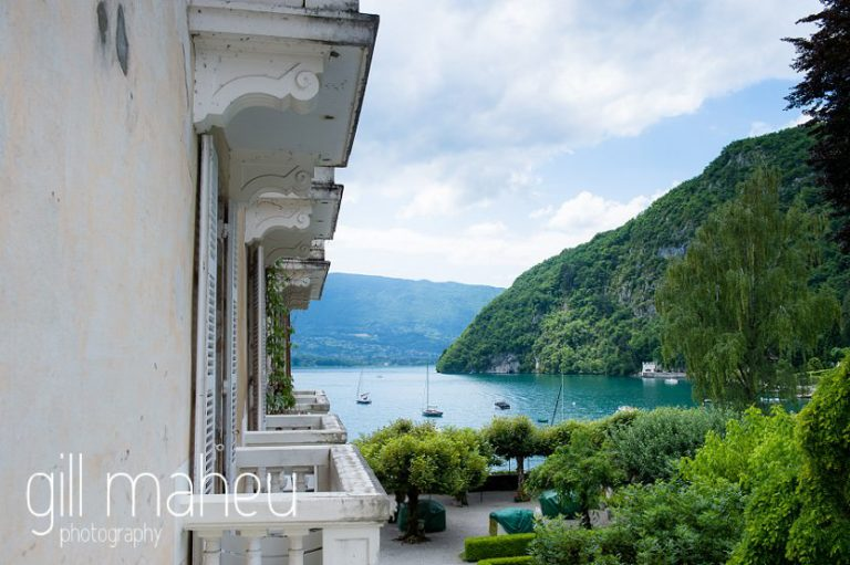 view of the lakje from balcony at Abbaye de Talloires, Annecy wedding by Gill Maheu Photography, photographe de mariage