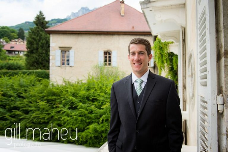 portrait of the groom on the balcony of the suite nuptiale Jena Reno at Abbaye de Talloires, Annecy wedding by Gill Maheu Photography, photographe de mariage