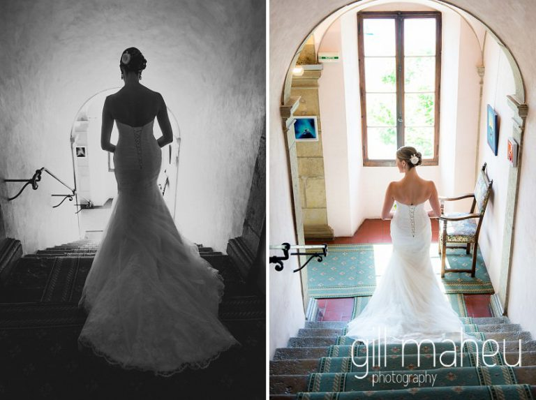 beautiful bride going down the stone stairs toawrds her wedding ceremony in the gardens of the Abbaye de Talloires, Annecy wedding by Gill Maheu Photography, photographe de mariage