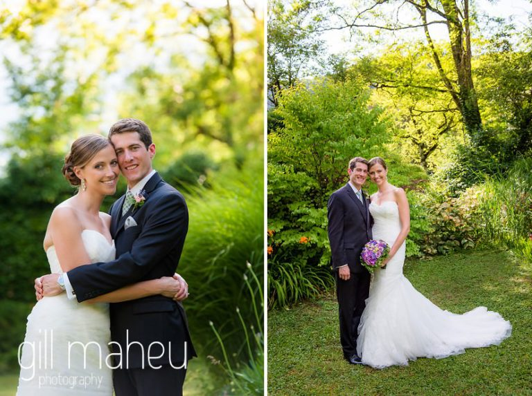 portraits of the happy couple in the gardens of the Abbaye de Talloires, Annecy wedding by Gill Maheu Photography, photographe de mariage