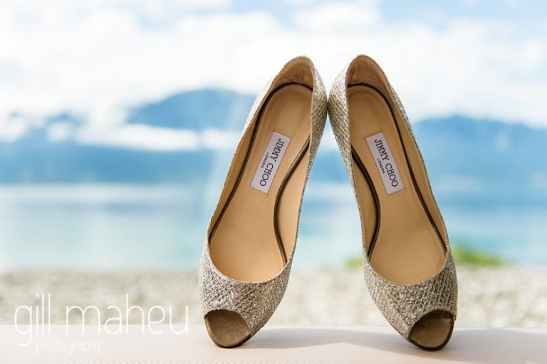 details of sparkly gold Jimmy Choo wedding heels at Fairmont Le Montreux Palace, Lake Geneva wedding by Gill Maheu Photography, photographe de mariage