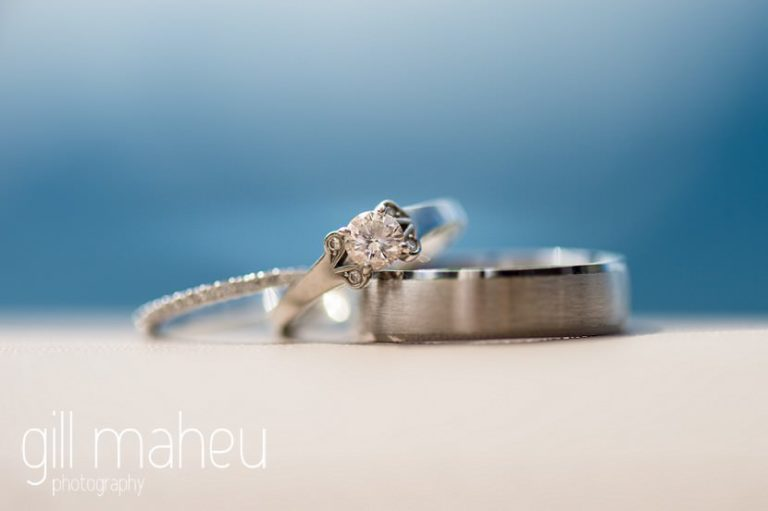 close up of diamond wedding rings at Fairmont Le Montreux Palace, Lake Geneva wedding by Gill Maheu Photography, photographe de mariage