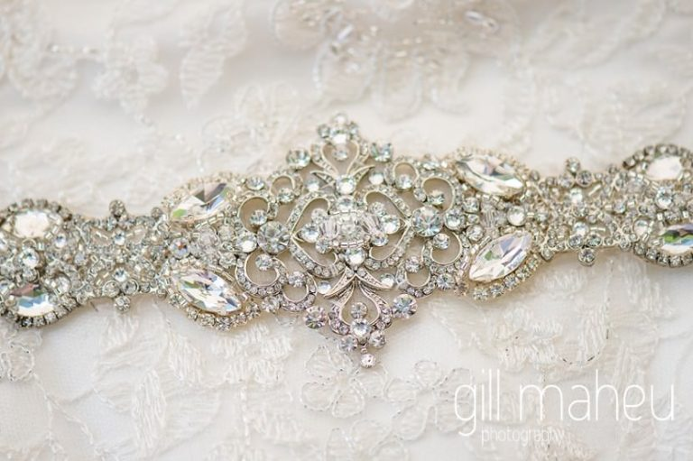 wedding detail of stunning diamante belt on David Tutera for Mon Cheri wedding dress at Fairmont Le Montreux Palace, Lake Geneva wedding by Gill Maheu Photography, photographe de mariage
