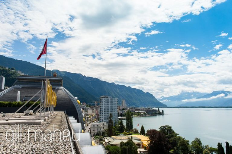 view from the terrace of the Fairmont Le Montreux Palace, Lake Geneva wedding by Gill Maheu Photography, photographe de mariage