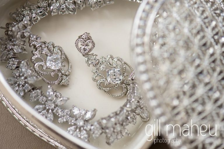 close up details of diamond earrings in intricate jewellry box on the terrace at the Fairmont Le Montreux Palace, Lake Geneva wedding by Gill Maheu Photography, photographe de mariage