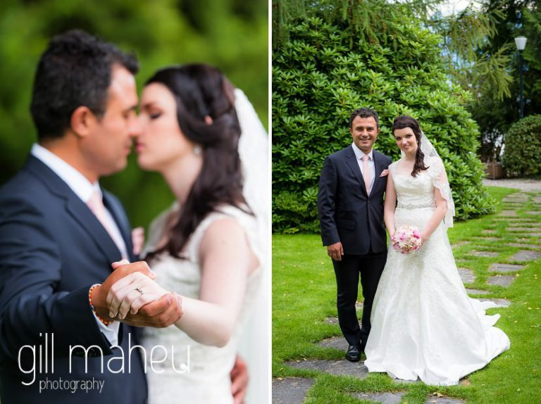 bridea nd groom kissing and embracing in Fairmont Le Montreux Palace, Lake Geneva wedding by Gill Maheu Photography, photographe de mariage