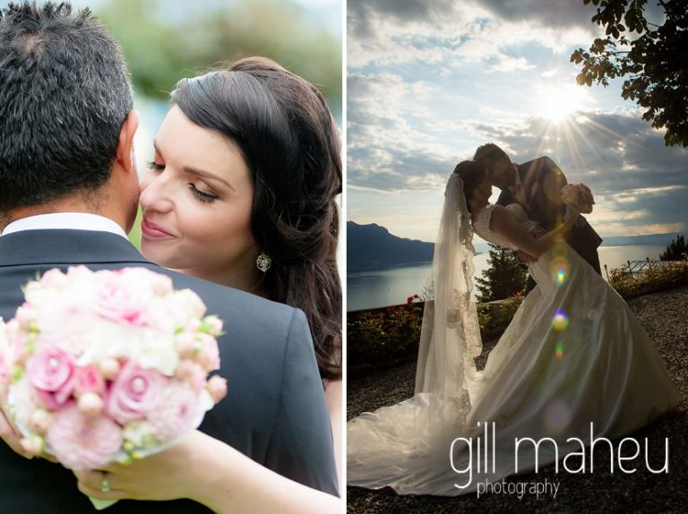 bride and groom embracing in the evening sunlight before Fairmont Le Montreux Palace, Lake Geneva wedding by Gill Maheu Photography, photographe de mariage