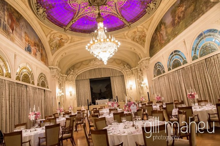 wedding dinner in the Belle Epoque Ballroom at Fairmont Le Montreux Palace, Lake Geneva wedding by Gill Maheu Photography, photographe de mariage