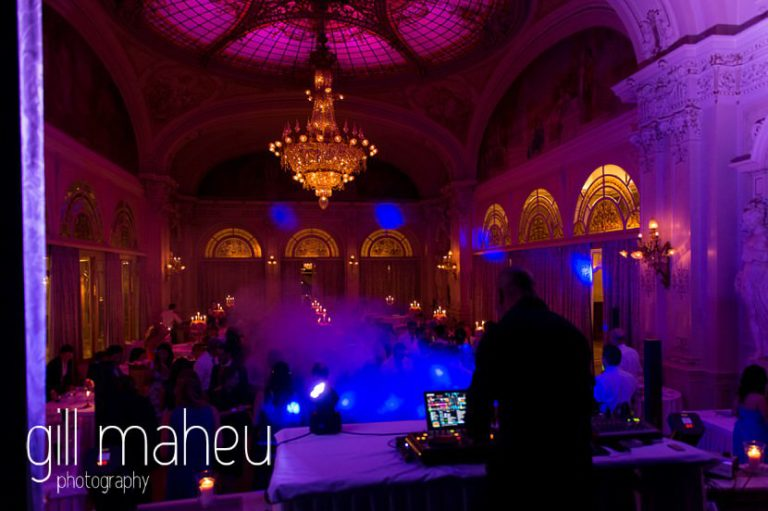 DJ Guz working the room for the evening party in the Belle Epoque Ballroom at Fairmont Le Montreux Palace, Lake Geneva wedding by Gill Maheu Photography, photographe de mariage