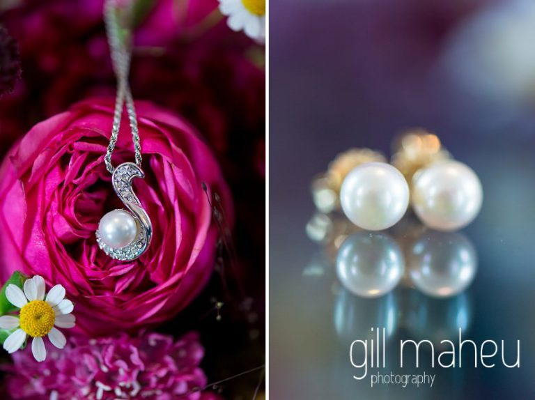 wedding details of pearl necklace in front of colourful bouquet at the Auberge du Raisin before Chateau de Glérolles, Lausanne, Lake Geneva wedding by Gill Maheu Photography, photographe de mariage