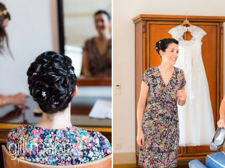 bridal preparations in the suite at the Auberge du Raisin before Chateau de Glérolles, Lausanne, Lake Geneva wedding by Gill Maheu Photography, photographe de mariage