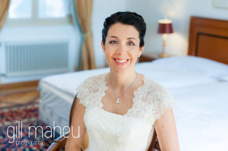 beautiful bridal portrait at the Auberge du Raisin before Chateau de Glérolles, Lausanne, Lake Geneva wedding by Gill Maheu Photography, photographe de mariage