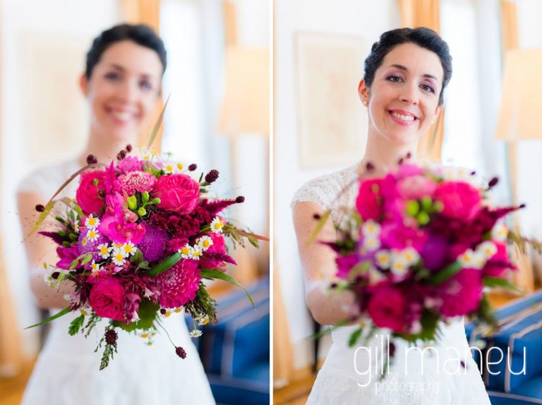 beautiful bridal portrait of bride and her bouquet at the Auberge du Raisin before Chateau de Glérolles, Lausanne, Lake Geneva wedding by Gill Maheu Photography, photographe de mariage