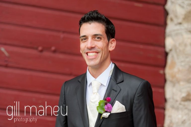 portrait iof handsome groom waiting at Chateau de Glérolles, Lausanne, Lake Geneva wedding by Gill Maheu Photography, photographe de mariage