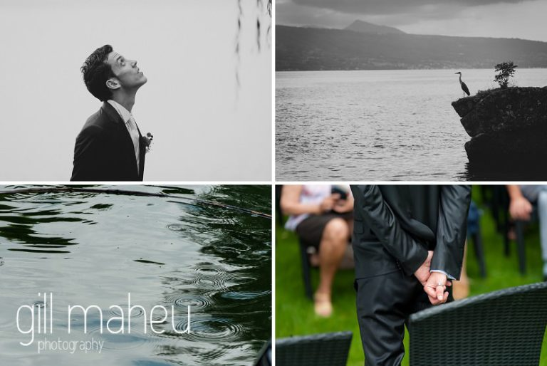 groom waiting for his bride and praying the rain stays away at Chateau de Glérolles, Lausanne, Lake Geneva wedding by Gill Maheu Photography, photographe de mariage